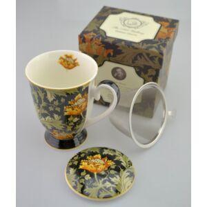 Porcelán bögre 300ml-es William Morris-Krizanté bögre+szűrő+tető 8,5x10,5cm-es díszdobozos finom porcelán