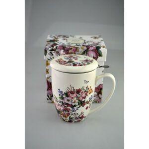 Porcelán bögre 350ml-es szűrős Vintage Flowers, díszdobozban Vintage Flowers kollekció