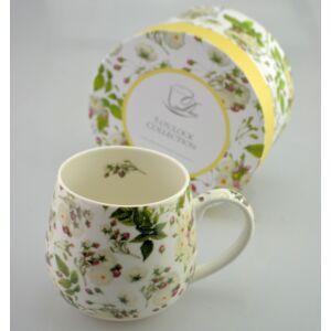 Porcelán bögre 430ml-es Marianne virág mintás bögre finom porcelán