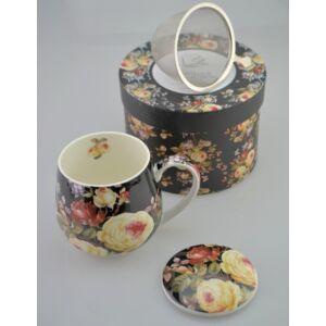 Porcelán bögre 450ml-es Fekete Rózsás mintás bögre+szűrő+tető 8x9cm-es díszdobozos finom porcelán