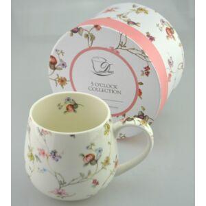 Porcelán bögre 450ml-es Pici Virágos mintás bögre 8x9cm-es díszdobozos finom porcelán