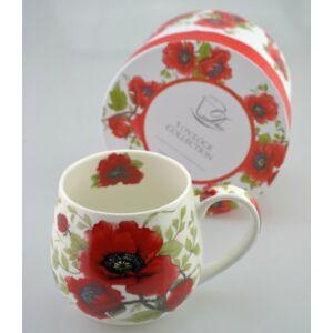 Porcelán bögre 450ml-es Pipacsos mintás bögre 8x9cm-es díszdobozos finom porcelán