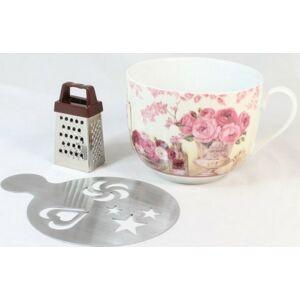 Porcelán bögre 460ml rózsás Csokireszelővel, sablonnal