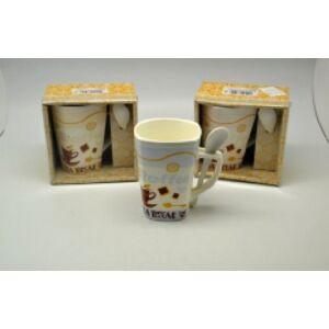 Bögre porcelán Coffee Espresso szögletes bögre+kanál díszdobozban