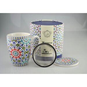 Porcelán bögre Marokko mintás bögre+szűrő+tető díszdobozos porcelán
