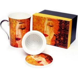 Porcelán bögre szett 1db 300ml-es porcelán bögre+fedél+szűrő Gustav Klimt
