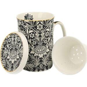 Porcelán bögre 280ml Szűrővel, William Morris Blue