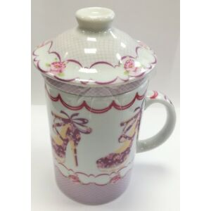 Porcelán bögre szett 37cl virágos bögre+szűrő+tető