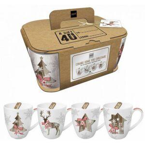 Porcelán bögre szett dobozban 4db 0,35l-es karácsonyi mintás Country Xmas porcelán