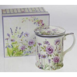 Porcelán bögre szett Levendula mintás, virág mintás díszdobozban 1db 400ml bögre + fedélel + szűrővel