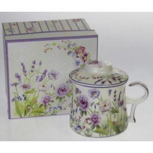 Porcelán bögre szett Levendula mintás, virág mintás díszdobozban 1db 320ml bögre + fedélel + szűrővel