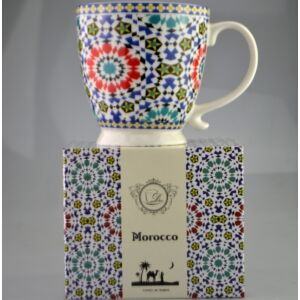 Porcelán bögre talpas Marokko mintás bögre díszdobozos porcelán