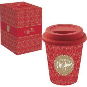 Porcelán bögre utazó 220ml szilikontetővel 220ml, Coffee Mania