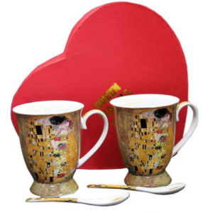 Porcelán bögre+kanál szett 2db-os Klimt: Adele Kiss porcelán