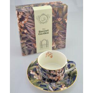 Porcelán csésze 250ml-es Yucca mintás csésze+alj 9x6cm-es díszdobozos finom porcelán