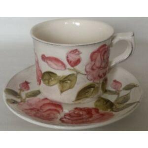 Kerámia csésze alj virágos bordó rózsás - kézzel festett domború mintás
