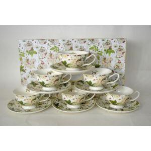 Porcelán csésze szett 210ml-es Rózsás mintás 6-6db csésze+alj 10,5x6cm-es díszdobozos finom porcelán