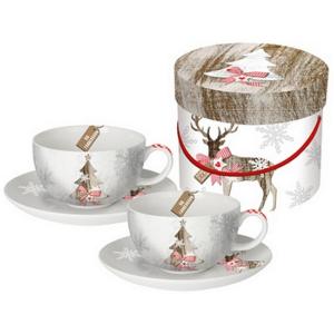 Porcelán csésze szett 2db 0, 2l-es csésze, karácsonyi mintás Country X-mas porcelán