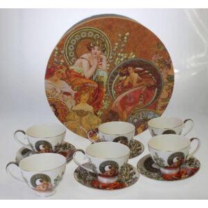 Porcelán csésze szett 6-6db 250ml-es porcelán csésze+csészealj Alfons Mucha
