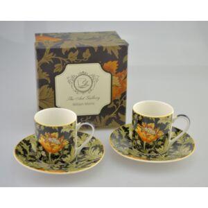 Porcelán csésze szett 70ml-es William Morris-Krizantén csésze+alj 5,5x5,5cm-es díszdobozos finom porcelán