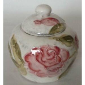 Kerámia cukortartó virágos bordó rózsás - kézzel festett domború mintás