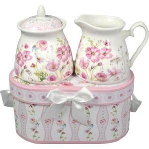 Porcelán cukortartó+tejszínes kancsó vadvirágos, díszdobozban masnival 2db/doboz