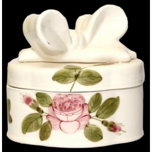 Süteményes doboz kerámia Rózsás - kézzel festett - Romantikus ovális