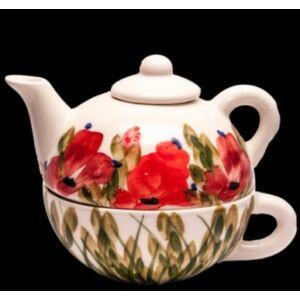 Kerámia egyszemélyes teás pipacsos -- kézzel festett kerámia