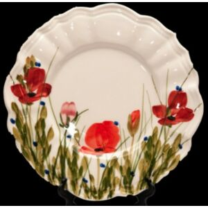 Kerámia desszertes tányér pipacsos -- kézzel festett kerámia
