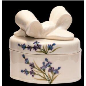 Kerámia süteményes doboz levendulás - kézzel festett - romantikus