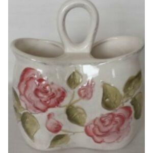 Kerámia fakanáltartó virágos bordó rózsás - kézzel festett domború mintás