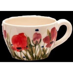 Kerámia kávés csésze pipacsos -- kézzel festett kerámia