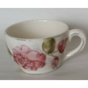 Kerámia kávés csésze virágos bordó rózsás - kézzel festett domború mintás