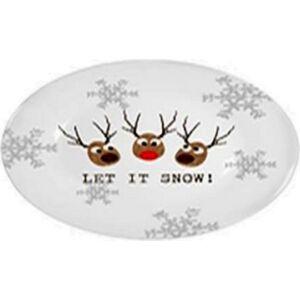 Porcelán lapostányér 19cm LET IT SNOW !