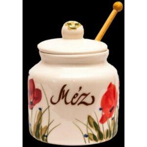 Kerámia méztartó pipacsos - kézzel festett kerámia