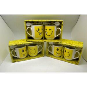 Porcelán páros bögre Smiley bögre+kanál díszdobozban 2személyre