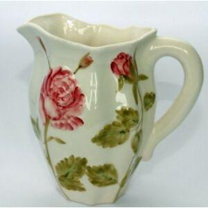 Kerámia kanna régi rózsás kézzel festett
