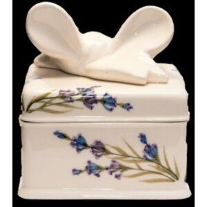Kerámai Süteményes doboz Levendula - kézzel festett - Romantikus szögletes