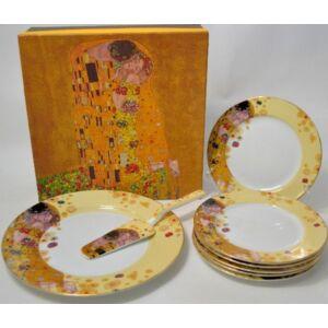 Porcelán süteményes készlet 1-1db Tortástál+lapát +6db kistányér Gustav Klimt: The kiss - A csók ecru