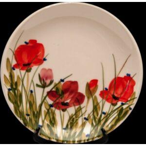 Kerámia tányér pipacsos -- kézzel festett kerámia