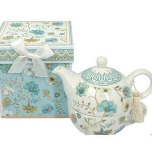 Porcelán teás csésze 2,5 dl teás kanna szett díszdobozban