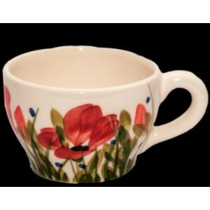 Kerámia teás csésze pipacsos -- kézzel festett kerámia