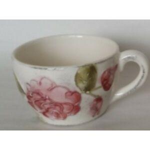 Kerámia teás csésze virágos bordó rózsás - kézzel festett domború mintás