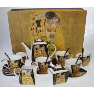 Porcelán teás szett Klimt 9részesnagy méretű porcelán szett Klimt: The Kiss fekete