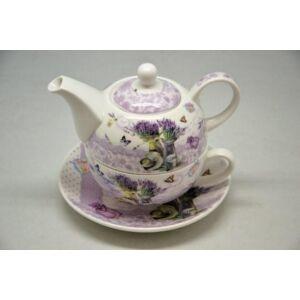 Porcelán teás szett Levendulás, Levendula mintás 1db teás csésze+ 1db teás kanna