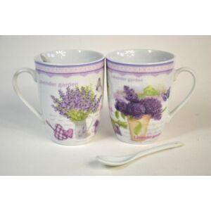 Porcelán teás szett Levendulás, Levendula mintás 2-2db teás csésze + kanál porcelán