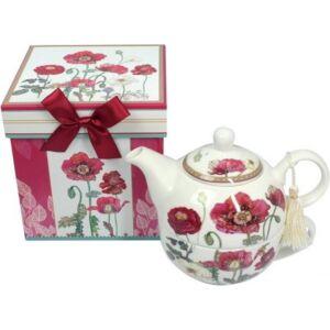 Porcelán teás szett Pipacsos 2,5 dl teás csésze + teás kanna díszdobozban masnival