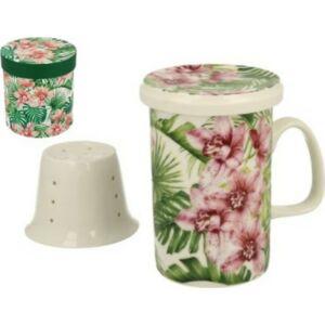 Porcelán Bögre teás 320ml Chloe, porcelánszűrővel és tetővel