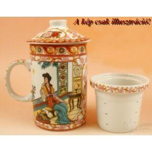 Porcelán Bögre teás szett Kínai mintás-motívumos bögre+szűrő+tető Chinese Of Tea feliratos dobozban