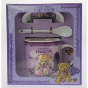 Porcelán Bögre teás szett Levendula bögre+kanál+alátét (1db/set) Lavender in Provance Macis díszdobozos